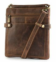 Visconti 18512 Genuine Distressed Leather Messenger Bag Shoulder Handbag Tan