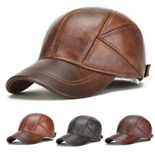 a8aac78b0b1 Leather Baseball Cap with Ear Flaps Mens Winter Hat Brown Leather Snapback  New