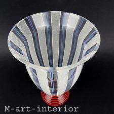 elegante ART DÉCO Glas Vase Czech Glass frosted stripes Bohemia Böhmen ca 1920