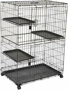 Basics Large 3-Tier Cat Cage Playpen Box Crate Kennel - 36 x 22 x 51 Inches B...