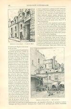 Auberge du Cheval blanc rue Mazet à Paris GRAVURE ANTIQUE OLD PRINT 1898