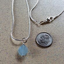 """Aquamarine pendant and Sterling silver 18"""" chain, March birthstone"""