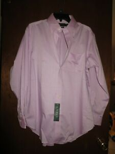 Men's Lauren Ralph Lauren Non Iron Lavender Long Sleeve Shirt Size 16 32/33 NEW