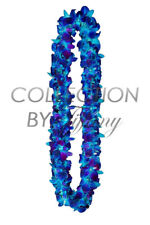 Fresh Graduation Orchid Leis - Double Strand Leis (Blue Sonnia Tinted)