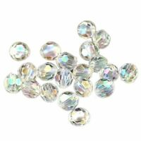 500x Transparent AB Color Round Faceted Acrylic Crystal Spacer Beads 6x6mm D8V7