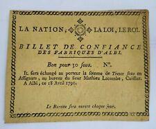 Albi billet de confiance des fabriques d'Albi bon pour 30 sous 1791 vierge