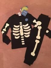 NWT Gymboree Halloween Glow in the Dark Black Skeleton Pajamas Baby Boy 2T