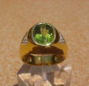 Men's 18K Solid Gold Peridot Diamond Ring