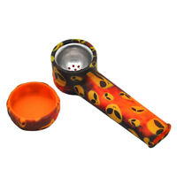 Silicone Smoking Tobacco Pipe Weed Portable Printing Durable Flexible Metal
