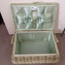 Vintage EXCLUSIVE Sewing Basket Box Minty Sage Green & White - Handle / Satin