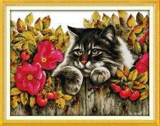 Joy Sunday Counted Cross Stitch Kit 14CT Cat in The Flowers 20in x 16in Fabric