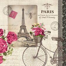 4 Single paper decoupage napkins. Paris, Eiffel Tower, flowers, stamps - 179