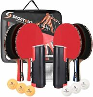 4 Player Ping Pong Paddle Set, Table Tennis Paddle Set with Retractable Net