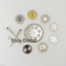 8 Diamond Polishing Wheel Disc Dental Ceramic Plaster Resin + 2 Mandrel HP Shank