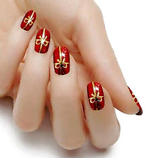 Christmas Present red gold color real nail polish strips Kc312 street art wraps