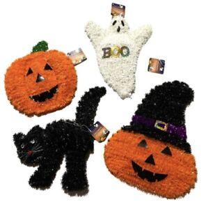 Lot Of 4 Halloween Tinsel Wall Decor Black Cat Witch Hat Wreath Pumpkin Ghost
