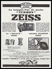 PUBLICITE ZEISS  LONGUE VUE DE POCHE OPTIQUE OPTIC    AD  1931 -2H