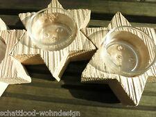 Couronne de l'Avent oblong bois étoile Titulaire Tea Light , chandelier 4