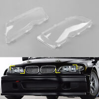 Pair LH+RH Replacement Headlight Lenses Cover Clear For BMW E46 4DR 2002-05 T05