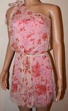 VICKY MARTIN pink peach silk one shoulder floral mini dress BNWT 10 wedding