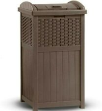 Suncast Trash Hideaway 33 Gallon Capacity Resin Wicker Outdoor Garbage Container