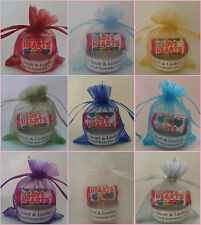 10 Personalised Wedding Favours Favors. Includes Love Hearts, Candle, Bag