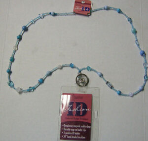 "Lanyard, Beaded, Blue Color, 17"", Breakaway ID, By DM Merchandisiing, New"