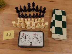 Portable Tournament Chess Set Clock Timer Board *Read*