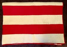 Vintage Twin Size White Quilt with Red Stripes