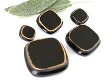 Vintage 50's German Black Glass Buttons Square Graduated Size Sales Sample Card
