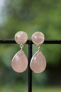 925 Sterling Silver Rose Quartz Earrings Tear Drop Cabochon Natural Gemstone