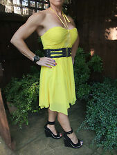 LIPSY BRIGHT YELLOW SUMMER COCKTAIL PROM PARTY SPECIAL OCCASION DRESS ~UK 12~VGC