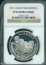 New listing 1991-S Commemorative Mount Mt. Rushmore Silver Dollar Ngc Pf69 Pr69