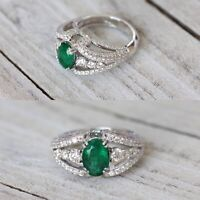 Gorgeous 14K White Gold 3.66ct. Natural Emerald And Diamond Luxury Cocktail Ring