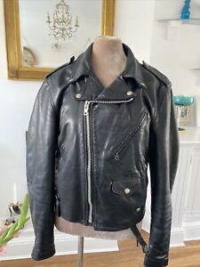 SCHOTT Black Leather Biker Jacket By Sz 40 Vintage 🖤