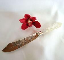 Englisches Perlmutt Obstmesser 925 er Silber Obstbesteck Messer Vorleger /av 707