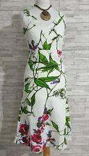 STEILMANN Pure Linen Dress 10-UK White/Purple/Pink/Green Floral Fit & Flare VGC
