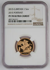 Great Britain UK 2015 1 FULL Sovereign Gold Proof Coin NGC PF70 UC Scarce Date