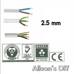 2.5mm Round White Flex cable 2 3 4 Core Flexible PCV Extension Wiring