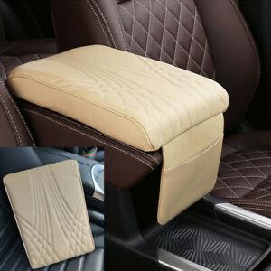 Beige Car Armrest Pad Cover PU Leather Auto Center Console Cushion Accessories