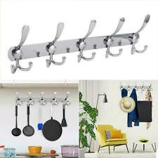 5 Hooks Wall Mount Hanger Towel Rack Stainless Steel Coat Robe Hat Clothes US