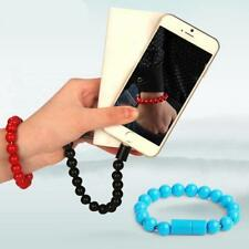 1xCreative 8Pin USB  Data Cable Bead Bracelet Charger For Android Phone #Black