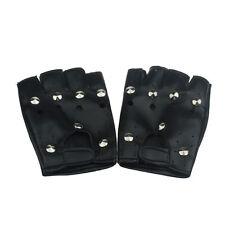 théâtral Punk Hip-Hop PU NOIR mi-doigts gants cuir rond ongle Unique