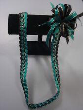 Hawaiian Braid Metallic Edge Ribbon Lei Black and Teal