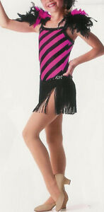 Jazz Tap Feather Showgirl Dance Dress Costume Child XS