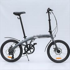 "Aluminium Folding Bike 20 "" Bicycle 8 Speed Shimano Disc Brake Grey Matt New"