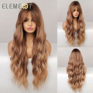 Long Ombre Brown Wavy Synthetic Hair Wigs with Bangs for Women Party Cosplay Wig
