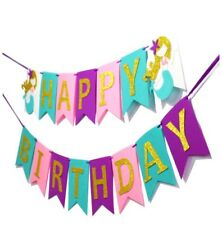 Happy Birthday Gold Glitter Felt Banner Mermaid Cake Topper & Sea Party Garland