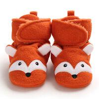 Baby Girls Boys Cozy Fleece Booties Fox Design Newborn Shoes Toddler Footwear