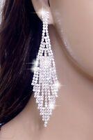 """#E121T 4"""" LONG CLIP ON Earrings Clear Crystal Chandelier Drop Bridal Silver Tone"""